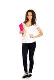 Giovane donna dello studente con le note Fotografia Stock Libera da Diritti