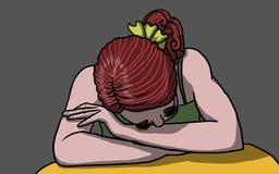 Giovane donna depressa e triste con la testa giù, illustrazione Fotografie Stock Libere da Diritti