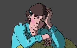 Giovane donna depressa e triste con la testa giù, illustrazione Immagini Stock