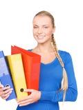 Giovane donna di affari attraente con le cartelle Immagine Stock Libera da Diritti