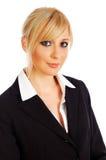 Giovane donna di affari bionda isolata su bianco immagine stock libera da diritti