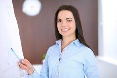 Giovane donna di affari che indica al flipchart nell'ufficio Fotografie Stock