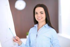 Giovane donna di affari che indica al flipchart nell'ufficio Immagini Stock Libere da Diritti