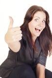 Giovane donna di affari che mostra a mano segno giusto Immagini Stock Libere da Diritti