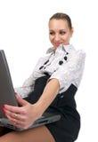 Giovane donna di affari che osserva in Fotografia Stock
