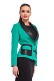 Giovane donna di affari che porta un vestito nero Fotografia Stock Libera da Diritti