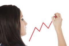 Giovane donna di affari che traccia un grafico Fotografia Stock Libera da Diritti