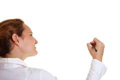 Giovane donna di affari che usando una penna Fotografia Stock Libera da Diritti
