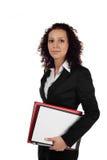Giovane donna di affari con i appunti. Isolato Fotografia Stock