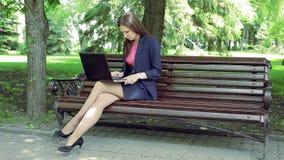 Giovane donna di affari con il banco di parco di lavoro del computer portatile video d archivio