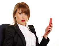 Giovane donna di affari con il cellulare Immagine Stock Libera da Diritti