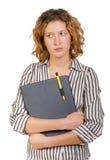 Giovane donna di affari con il dispositivo di piegatura in mani Immagine Stock Libera da Diritti