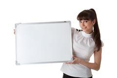 Giovane donna di affari con il segno in bianco Immagine Stock Libera da Diritti
