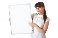 Giovane donna di affari con il segno in bianco Fotografia Stock Libera da Diritti
