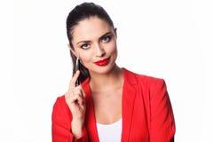 Giovane donna di affari con la penna Fotografie Stock Libere da Diritti