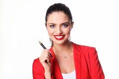 Giovane donna di affari con la penna Fotografia Stock