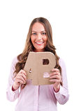 Giovane donna di affari con le lettere ab Immagine Stock