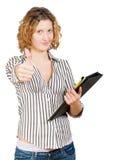 Giovane donna di affari con un dispositivo di piegatura Fotografia Stock