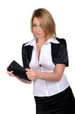 Giovane donna di affari con un portafoglio Fotografie Stock