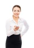 Giovane donna di affari con un telefono cellulare Fotografia Stock