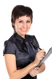 Giovane donna di affari con una penna Fotografia Stock Libera da Diritti
