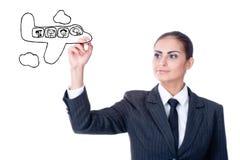 Giovane donna di affari con uno schema vuoto Immagine Stock Libera da Diritti