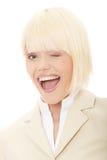 Giovane donna di affari felice Fotografie Stock Libere da Diritti