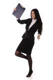 Giovane donna di affari felice di dancing Fotografia Stock Libera da Diritti