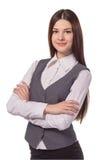 Giovane donna di affari graziosa con il braccio piegato isolato Fotografia Stock