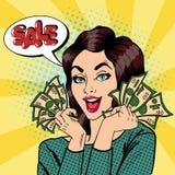 Giovane donna di affari Holding Cash La donna grida vendita Pop art illustrazione di stock