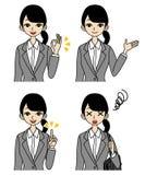 Giovane donna di affari, insieme del fronte illustrazione di stock
