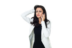 Giovane donna di affari isolata su bianco Immagine Stock
