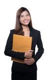 Giovane donna di affari Isolato su priorità bassa bianca Immagine Stock