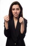 Giovane donna di affari nel concetto di pugilato fotografie stock