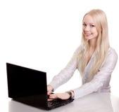 Giovane donna di affari, o allievo con il computer portatile Immagini Stock