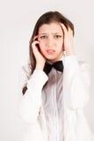 Giovane donna di affari sollecitata e deprimente fotografie stock libere da diritti