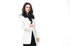 Giovane donna di affari su fondo bianco Immagini Stock