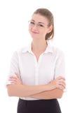 Giovane donna di affari in vetri isolati su bianco Immagine Stock Libera da Diritti