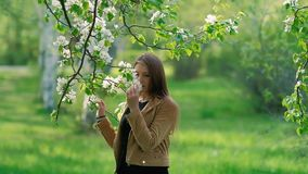 Giovane donna di bellezza che gode della natura nel meleto di primavera, bella ragazza felice in giardino con gli alberi di fiori stock footage
