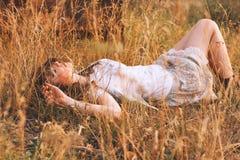 Giovane donna di bellezza con i capelli di Brown nel campo dorato al tramonto Fotografia Stock Libera da Diritti