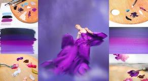 Giovane donna di bellezza in vestito lilla d'ondeggiamento Fotografia Stock