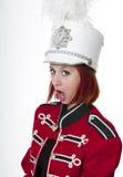 Giovane donna di bello redhead nella fanfara Fotografie Stock