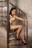 Giovane donna di lusso nell'interno costoso Ragazza con il mak perfetto Immagini Stock