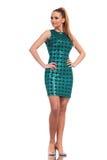 Giovane donna di modo che porta un vestito elegante Fotografia Stock Libera da Diritti