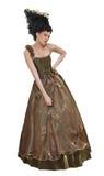 Giovane donna di stile Rococo che si leva in piedi in vestito fotografia stock