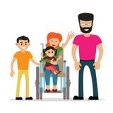 Giovane donna disabile con la sua famiglia Fotografie Stock Libere da Diritti
