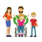 Giovane donna disabile in sedia a rotelle con la sua famiglia Fotografia Stock Libera da Diritti