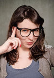 Giovane donna divertente del brunette fotografie stock libere da diritti