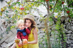Giovane donna e bambino sveglio che selezionano melograno maturo nel giardino soleggiato dell'albero in Italia Fotografie Stock Libere da Diritti
