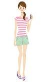 Giovane donna e Smart Phone, stile casuale royalty illustrazione gratis